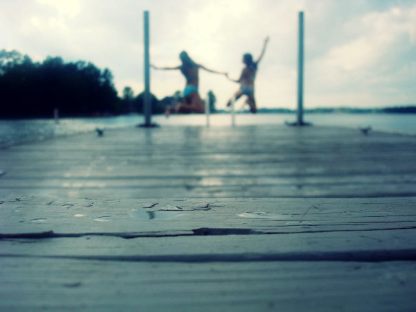 best friends, dock, girls, lake, summer