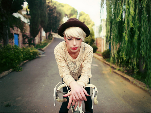 bicicle, cute, fashion, girl, hat