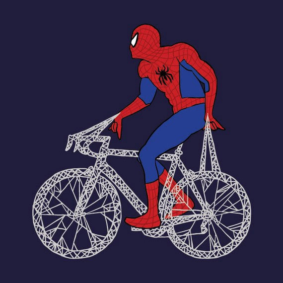 bikes, comics, illustration, spiderman
