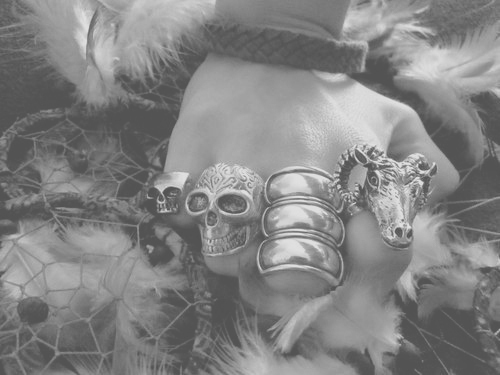 black and white, dream catchers, fashion, rings, skulls