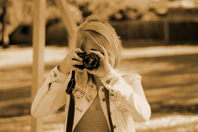 blonde, bokeh, camera, demin jacket, film