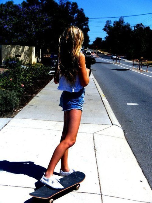 blonde, fashion, girl, skateboard, summer, sunny, tan, tanned
