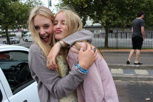 blonde, friends, friendship, girls, hair, street