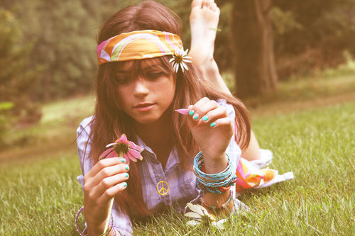 blue, brunette, flower, flower power, girl