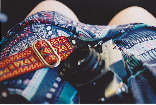 blue, camera, dress, fashion, film camera