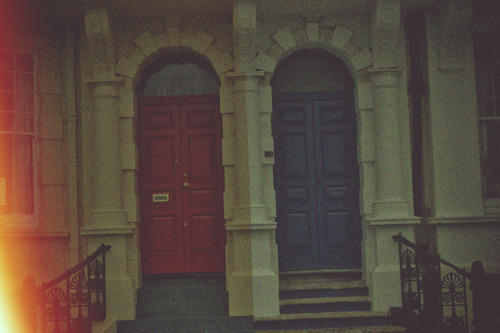 blue, cute, doors, houses, red
