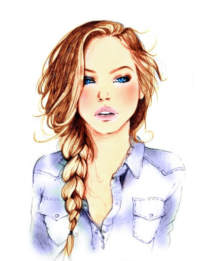 blue eyes, brown, drawing, fashion, hair, plait, pretty, urban