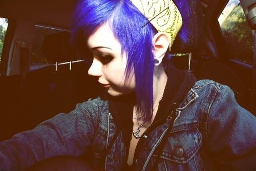 blue hair, dyed hair, girl