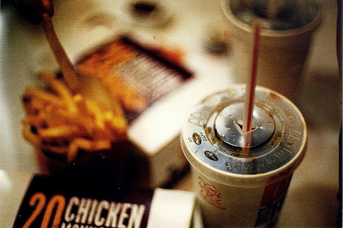 blur, blurred, fast food, fries, mcdonalds, out of focus, soda, straw