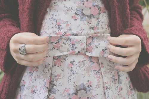 bows, clothes, dress, floral, floral pattern