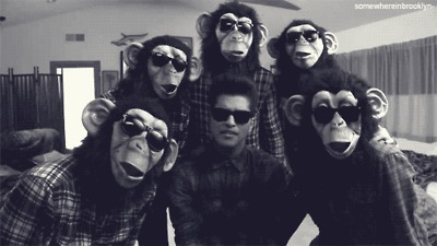 boy, bruno mars, celeb, celebrities, celebrity, cute, fashion, fun, funny, hot, masks, monkey, monkeys, music, music video, poreotix, ray bans, sexy, text, the lazt song, the lazy song, typography