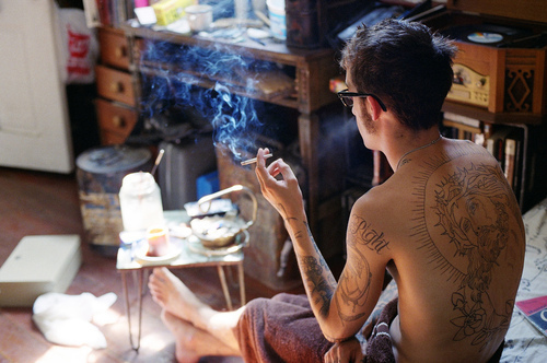 boy, cigarette, tattoo