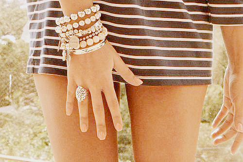 bracelets, cute, detail, dress, fashion, legs, ring, stripes