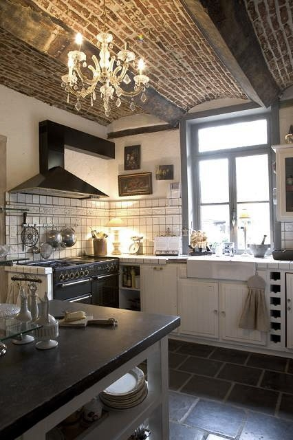 brick, chandelier, cooking, decor, design