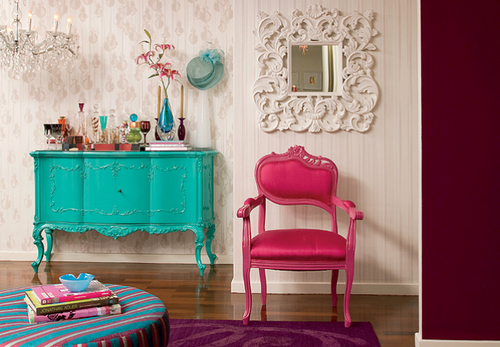 bright, colorful, pink, room