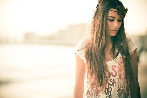brown, brown hair, brunette, cute, fashion, girl, photography, make up, pretty, long hair, shirt, sunset, trend, style, separate with comma, hair, headband, orange, sad
