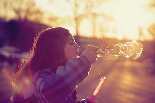 bubbles, girl, sunlight