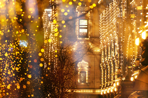 building, city, fairy lights, fairylights, lights, night, pretty, street