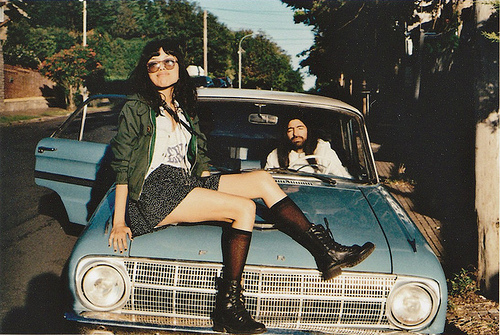 car, coturn, cute, fashion, girl, glasses, indie, outfit, photograph, sexy, skirt, tights, vintage