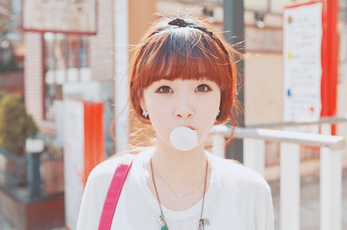 chewing gum, cute, girl, korean