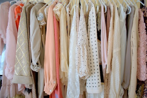 clothes, cream, cute, fashion, floral, girly, lace, orange, peach, pink, pretty, rack, separate with comma, shop, store, studs, style, trend, white
