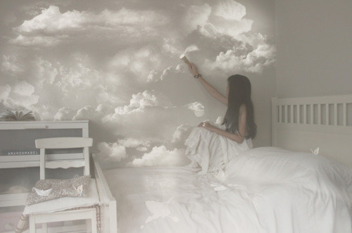 clouds cute dream girl painting image 222096 on