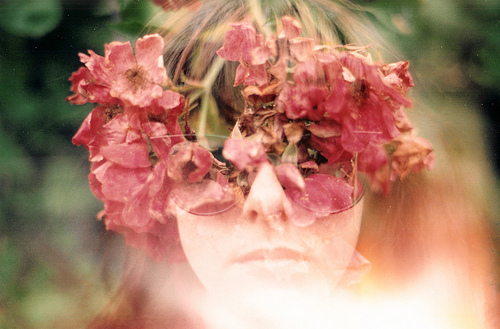 double exposure, film, flowers, girl, photography