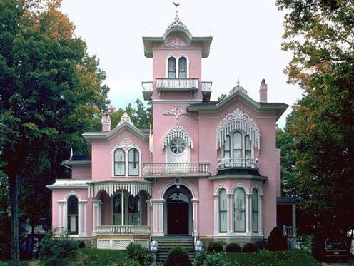 dream house, house, pink