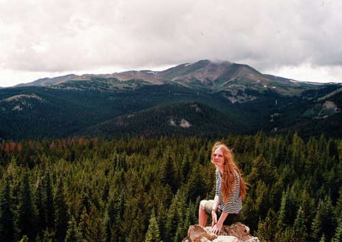 forest, ginger, girl, hill, landscape