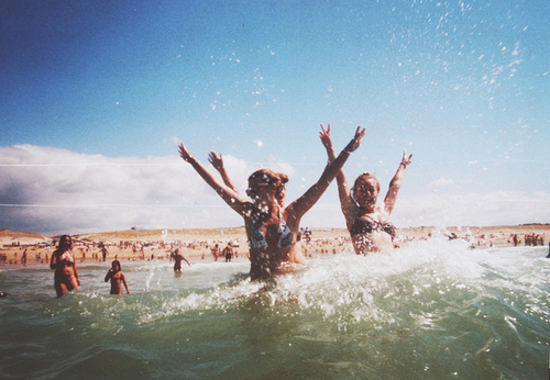 girls, happiness, happy, ocean, sea, summer, sun, water