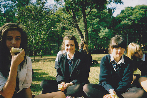 girls , school, uniform, vintage