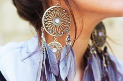accesories, beautiful, blue, dreamcatcher, earings, feathers, violet