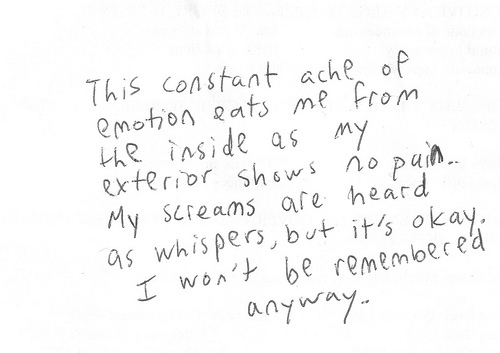 ache, emotions, handwriting, hopeless, letter