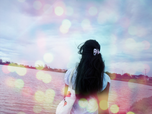 alone, bokeh, different, girl, hair, illustration, looking for, photography, pink, river, sad, sky, woman