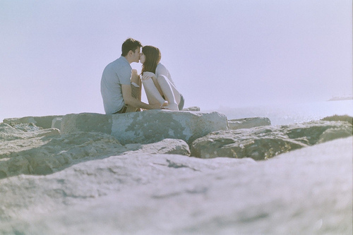 amor, beach, couple, cute, erotice, for the rest of my life, kiss, love, lovely, ocean, rocks, romantic, sand, sky, summer, sweet