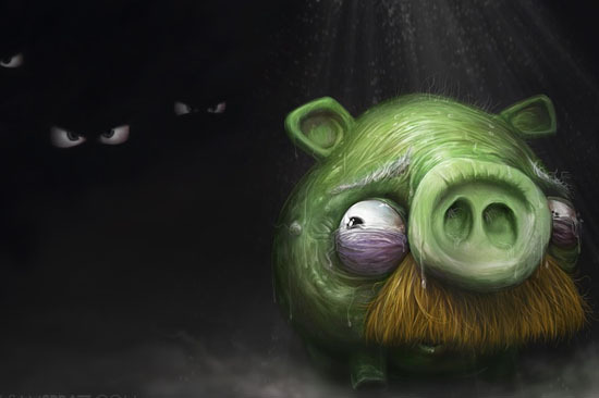 angry, birds, illustration, pig