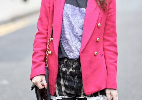 animal print, bag, cute, fashion, jacket, pink, shorts