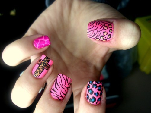 animal print, fingers, hand, nail art, nail polish, nails, pink, pretty, ring