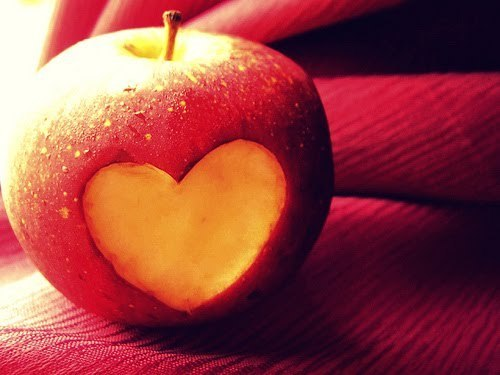 apple, cute, food, heart, photography