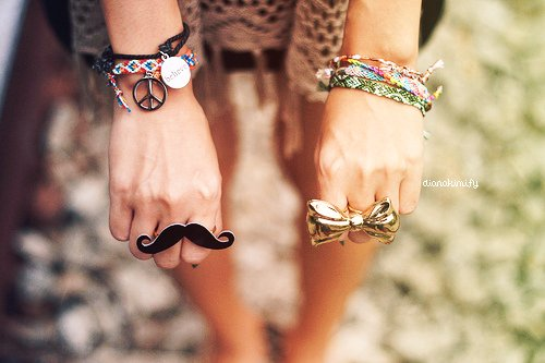 arms, bracelets, dress, fashion, girl, great, hands, love, memories, mustache, peace, pretty, rings, separate with comma, staple, summer, summer memories, teenager