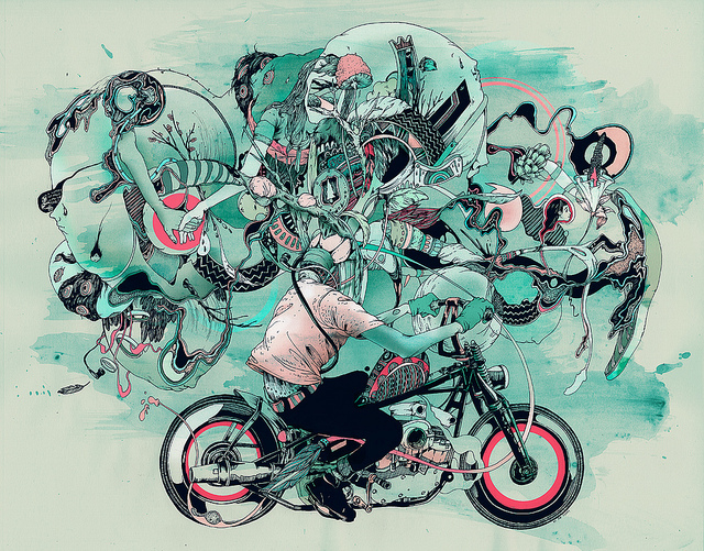 art, drawing, illustration, mixed media, motorcycle
