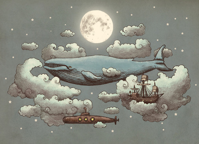 art, illustration, sky, whale