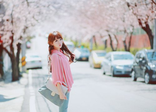 asian, bag, blossoms, cute, fashion
