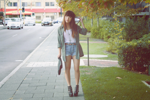asian, bangs, brunette, fashion, girl, hair, heels, long hair, photo, photography, shorts