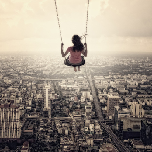 awesome, city, cool, freedom, fun, girl, heights, high, sky, swing, view