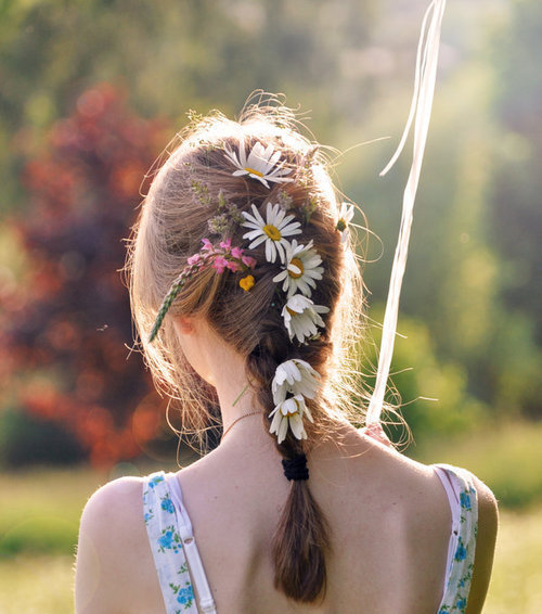 back, blonde, braid, color, daisy, flower, flowers, girl, hair, nature, no face, peace, ribbon