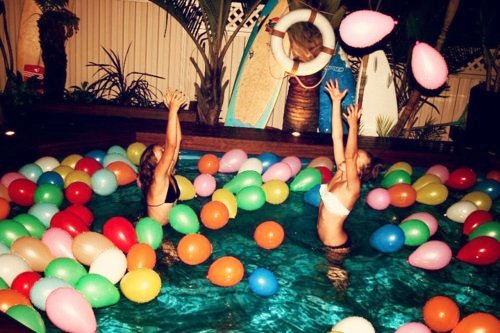 balloons, bikini, fly, party, pearlsandfloral