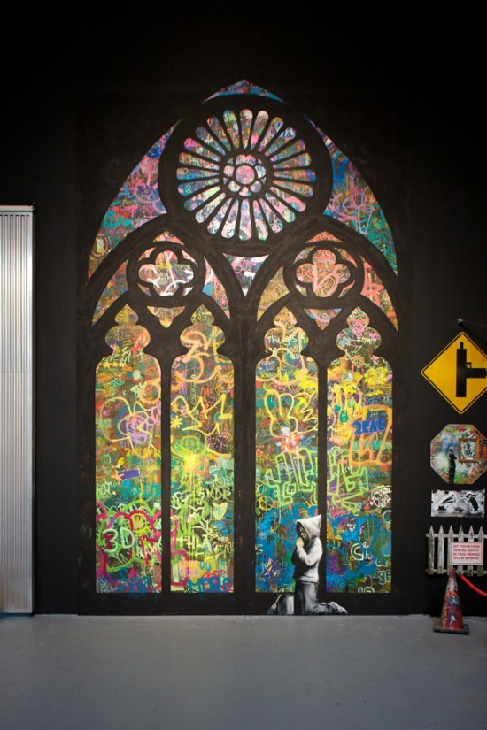 banksy, cathedral, graffiti, religion