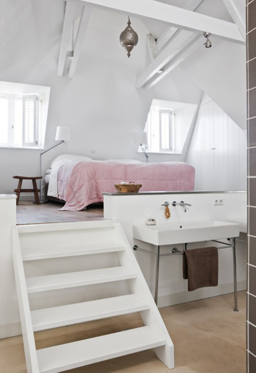 bathroom, bed, bedroom, chair, color, decor, design, fashion, home, interior, interiors, pink, sink, stairs, towel, white, window, zink