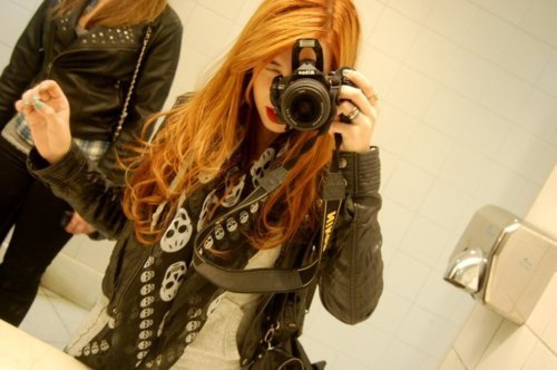 bathroom, camera, girl, hair, jacket